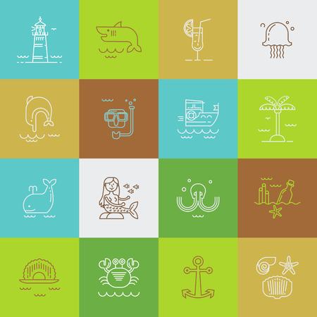 Set of sea travel icons