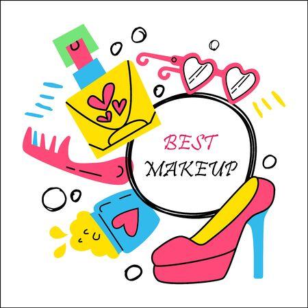 Fashion illustration background. Doodle design elements. Perfume, lipstick, nail Polish, mascara. Cosmetics and glamorous lifestyle