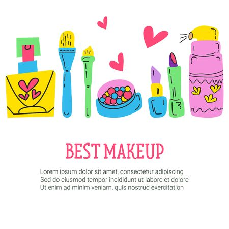 Doodle Illustration with makeup objects on isolated background. Lipstick, cream, perfume, blush. There s room for text. Illusztráció