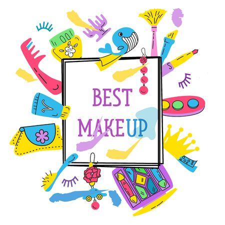 Illustration of the elements of makeup vector Illusztráció