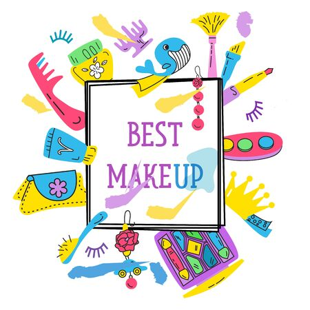 Illustration of the elements of makeup vector Иллюстрация