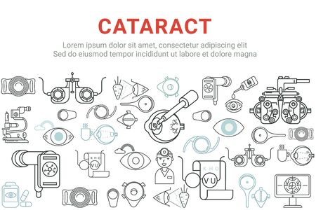 Cataract, glaucoma, eye diseases linear web banner.