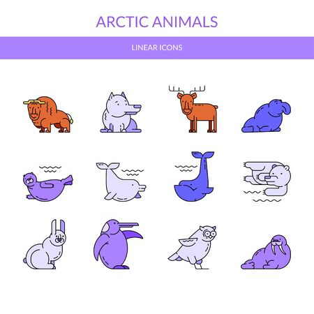 Arctic animals. Vector set of linear icons.