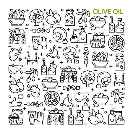 Olives. Olive oil. Set of linear icons. Vettoriali