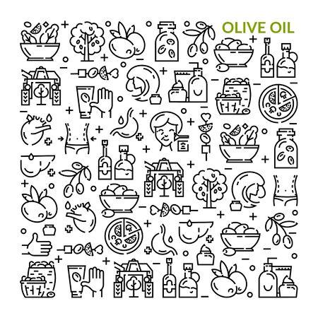 Olives. Olive oil. Set of linear icons. Vektoros illusztráció
