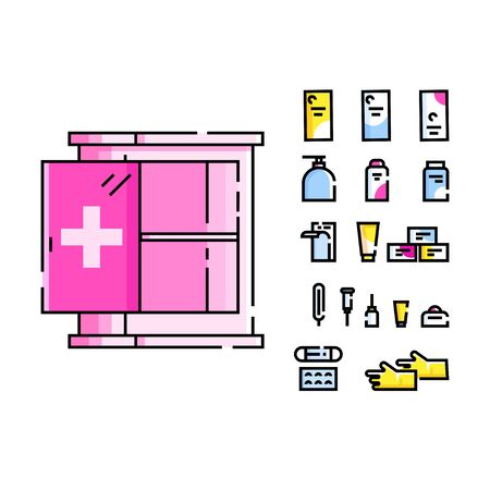 Medical chest with open door and medicines. Illustration