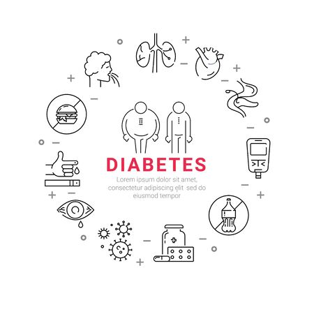 Diabetes. Circle poster with flat line icons.