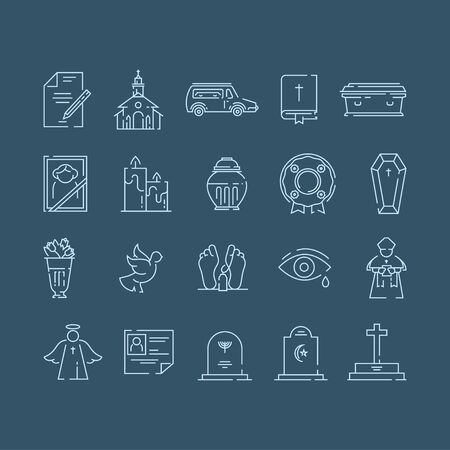 Funeral service icon set in linear style.