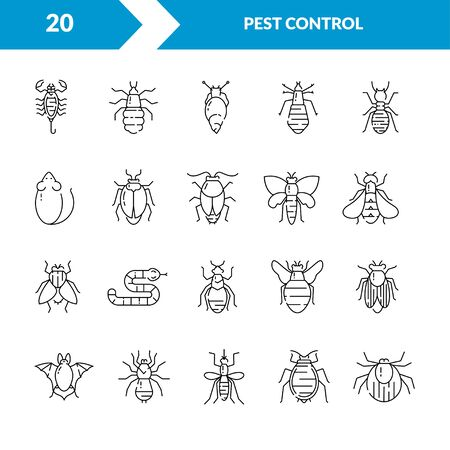 Pest control icon set in linear style. Çizim