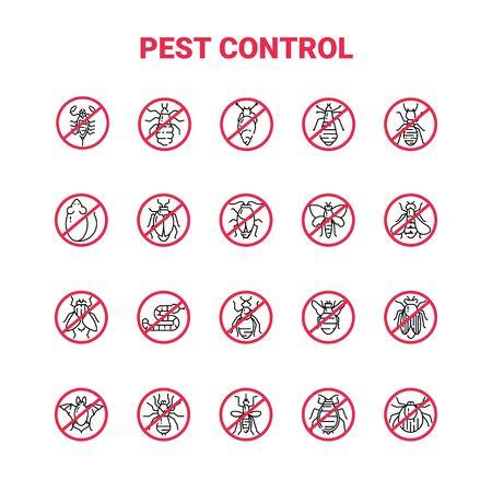 Pest control icon set in linear style. Illusztráció