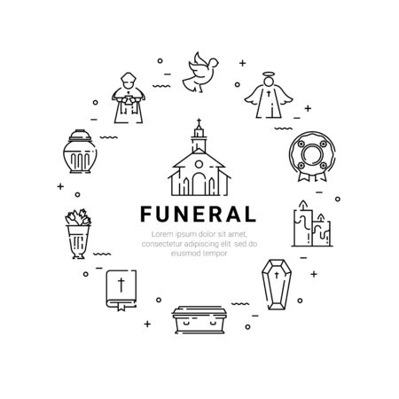 Funeral service icon set in linear style. Illustration