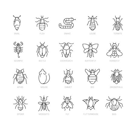Pest control icon set in linear style. Vector Illustration