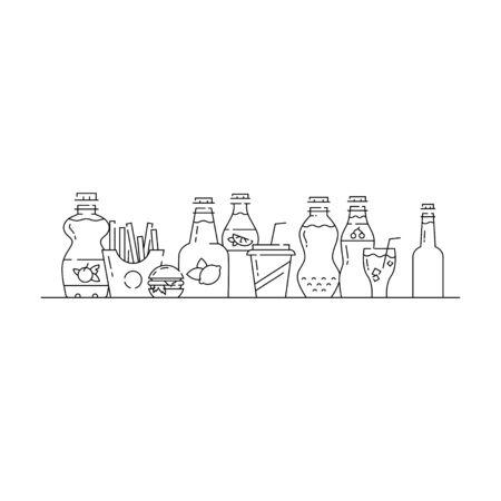 Soda bottles icon set in linear style.