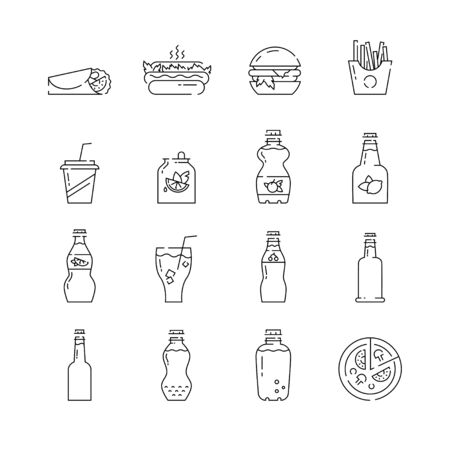 Soda bottles icon set in linear style.