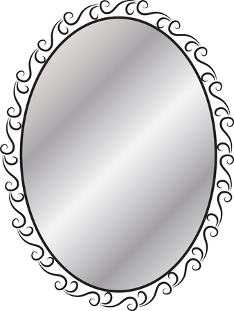 furniture part: mirror in a decorative frame Illustration