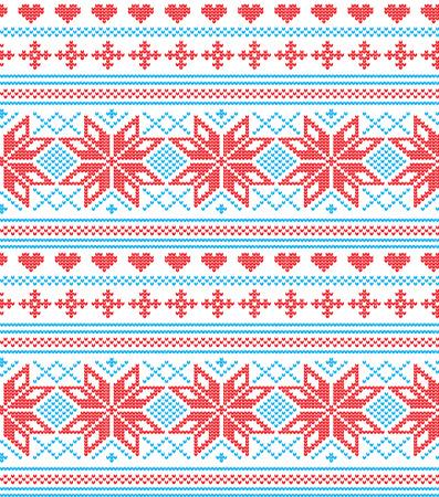 Winter festive Christmas knitted pattern Illustration