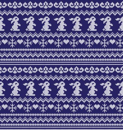 Winter festive Christmas knitted pattern. Illustration