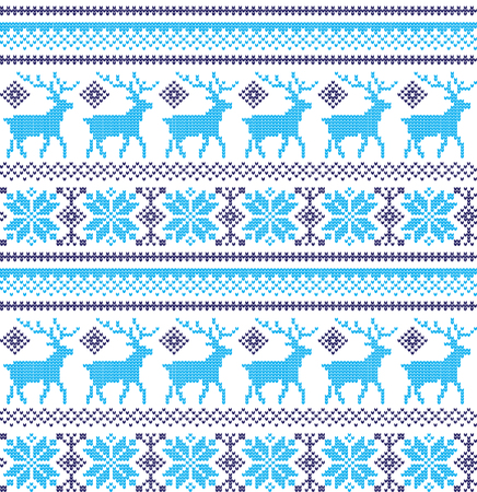 Winter festive Christmas knitted pattern woolen knitted 2018 Illustration
