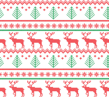 Winter Holiday Seamless Knitting Pattern with a Christmas Trees. Christmas Knitting Sweater Design. Wool Knitted Texture Stock Photo