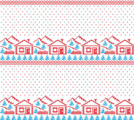 Winter festive Christmas knitted pattern woolen knitted