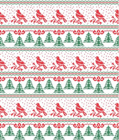 Christmas New Years winter seamless festive Norwegian woolen knitted pattern 2018