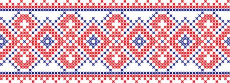 Cruzada de padrão nacional ucraniano e russo bordado. Ilustración de vector