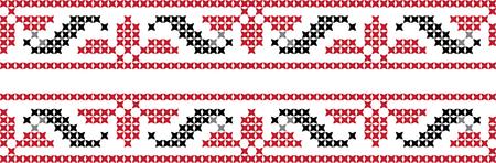 Geborduurd kruissteekornament nationaal patroon Oekraïens Slavisch Stock Illustratie
