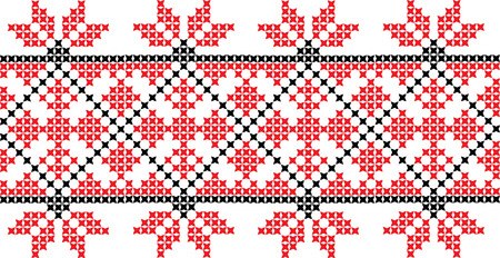 Embroidered cross stitch ornament national pattern Ukrainian Slavic