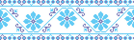 embroidered cross-stitch ornament of national pattern Ukrainian Slavic Illustration