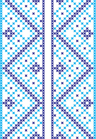 Embroidered cross-stitch ornament Ukrainian Slavic national pattern.