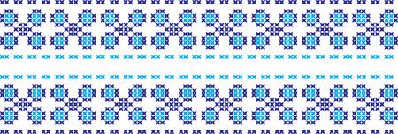 embroidered cross-stitch ornament of national pattern Ukrainian Slavic Illustration