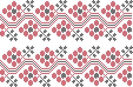 embroidered cross-stitch ornament national pattern of Ukrainian Slavic  イラスト・ベクター素材