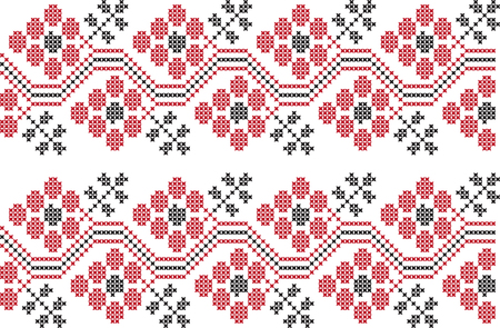 embroidered cross-stitch ornament national pattern of Ukrainian Slavic Ilustração