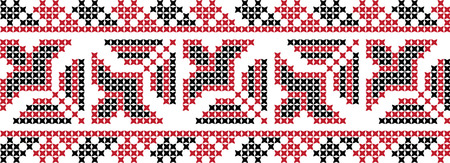 Embroidered cross-stitch ornament pattern.