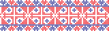 Embroidered cross-stitch ornament design pattern.
