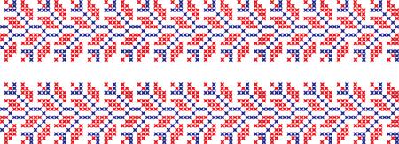 Embroidered Ukrainian Slavic cross-stitch ornament national pattern.