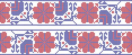 Embroidered cross-stitch ornament pattern design. Vettoriali