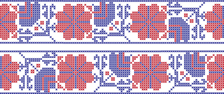 Embroidered cross-stitch ornament pattern design. Illustration