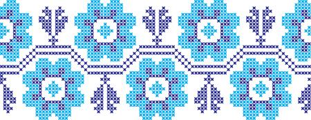 Embroidered cross-stitch ornament pattern design. Illustration