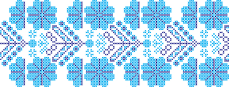 embroidered cross-stitch ornament national pattern of Ukrainian Slavic Illustration