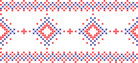 Embroidered cross-stitch ornament national pattern Ukrainian Slavic.