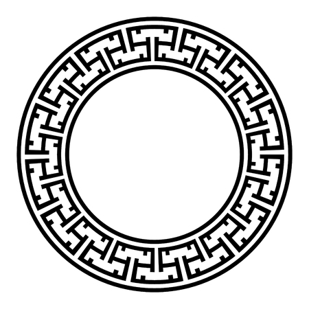 Decorative round frame. Abstract vector geometric ornament in black color on a white background. Abstract vector geometric ornament in white black color on a black background. Vector illustration Vettoriali