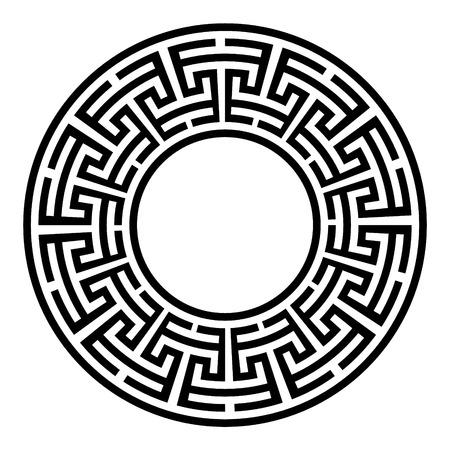 Cornice rotonda decorativa. Ornamento geometrico di vettore astratto in colore nero su sfondo bianco. Ornamento geometrico di vettore astratto in colore nero bianco su sfondo nero. Illustrazione vettoriale