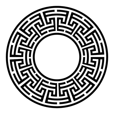 Dekorativer runder Rahmen. Abstrakte Vektor geometrische Ornament in schwarzer Farbe auf weißem Hintergrund. Abstrakte Vektor geometrische Ornament in weißer schwarzer Farbe auf schwarzem Hintergrund. Vektor-Illustration