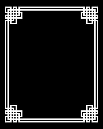 Wektor elegancka rama ze starożytnym greckim tradycyjnym meandrowym wzorem - czarna ilustracja na białym tle
