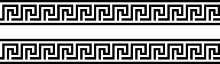 Seamless greek ornament on black and white background, design