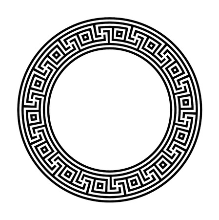 Decorative round frame. Abstract vector geometric ornament. Vector illustration.