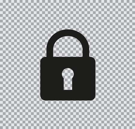 Vector flat lock icon black on a transparent background Ilustrace