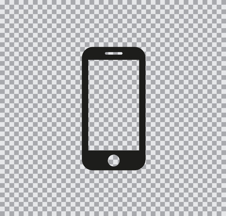 Vector flat icon of phone black on a transparent background