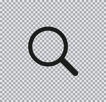 Vector flat icon of a magnifier black on a transparent background